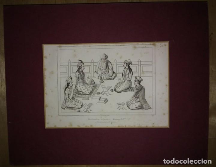 Arte: Grabado India Instrucción religiosa India Lemaitre Direxit Siglo XIX con Paspartú biselado - Foto 2 - 140515642
