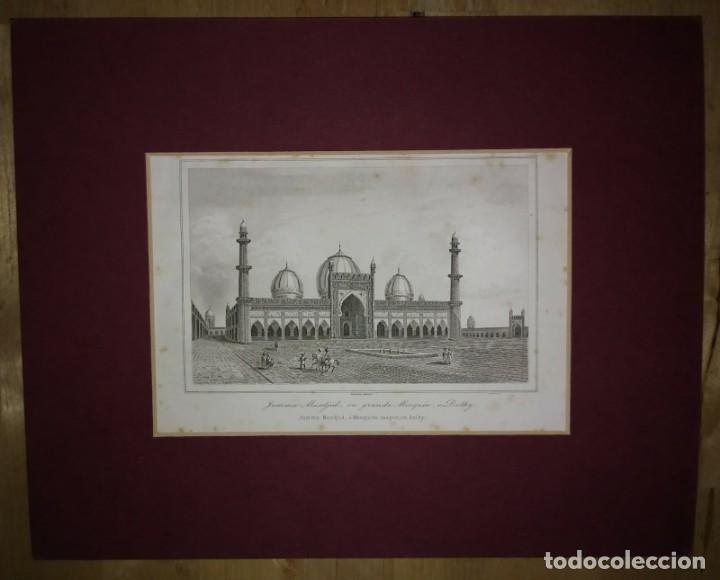 GRABADO INDIA JUMMA MASJID LEMAITRE DIREXIT SIGLO XIX CON PASPARTÚ BISELADO (Arte - Grabados - Modernos siglo XIX)