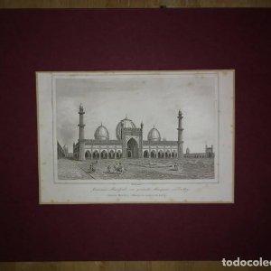Grabado India Jumma Masjid Lemaitre Direxit Siglo XIX con Paspartú biselado