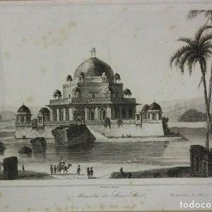 Grabado India Mausoleo de Sher Shi Lemaitre Direxit Siglo XIX con Paspartú biselado