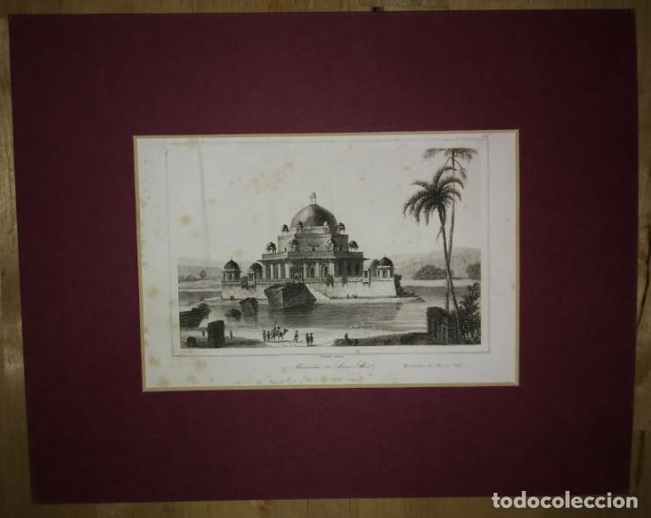 Grabado India Mausoleo de Sher Shi Lemaitre Direxit Siglo XIX con Paspartú biselado - 140515854