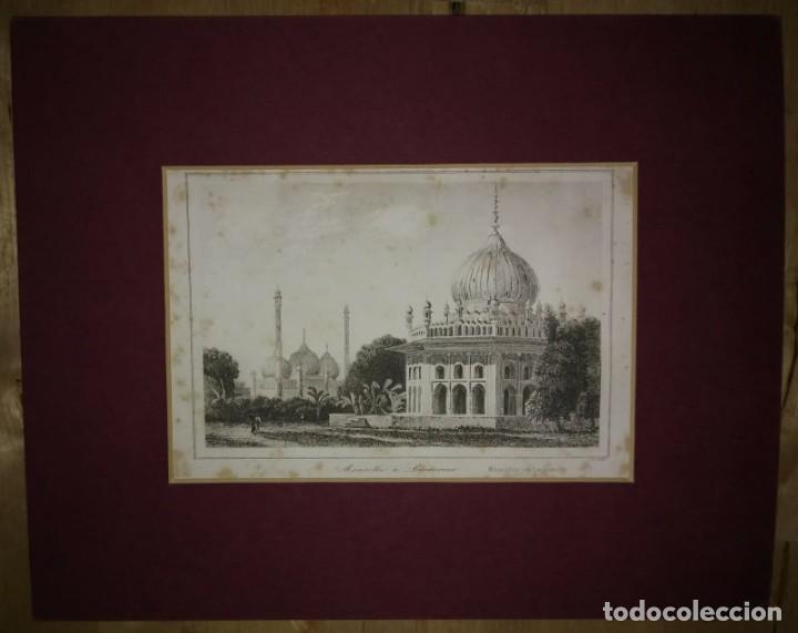 GRABADO INDIA MAUSOLEO INDIO LEMAITRE DIREXIT SIGLO XIX CON PASPARTÚ BISELADO (Arte - Grabados - Modernos siglo XIX)