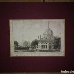 Grabado India Mausoleo Indio Lemaitre Direxit Siglo XIX con Paspartú biselado