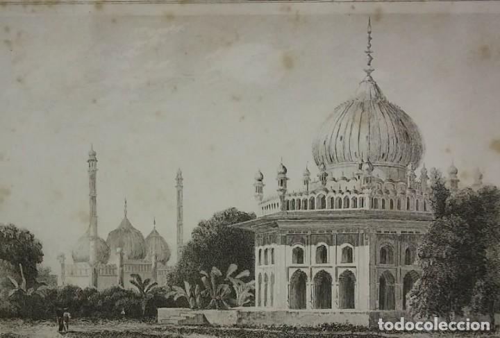 Arte: Grabado India Mausoleo Indio Lemaitre Direxit Siglo XIX con Paspartú biselado - Foto 2 - 140515922