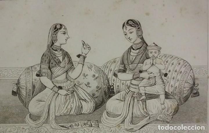 GRABADO INDIA MUJERES INDIAS DEL DEKAN LEMAITRE DIREXIT SIGLO XIX CON PASPARTÚ BISELADO (Arte - Grabados - Modernos siglo XIX)