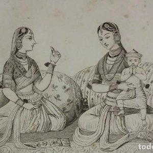 Grabado India Mujeres indias del Dekan Lemaitre Direxit Siglo XIX con Paspartú biselado