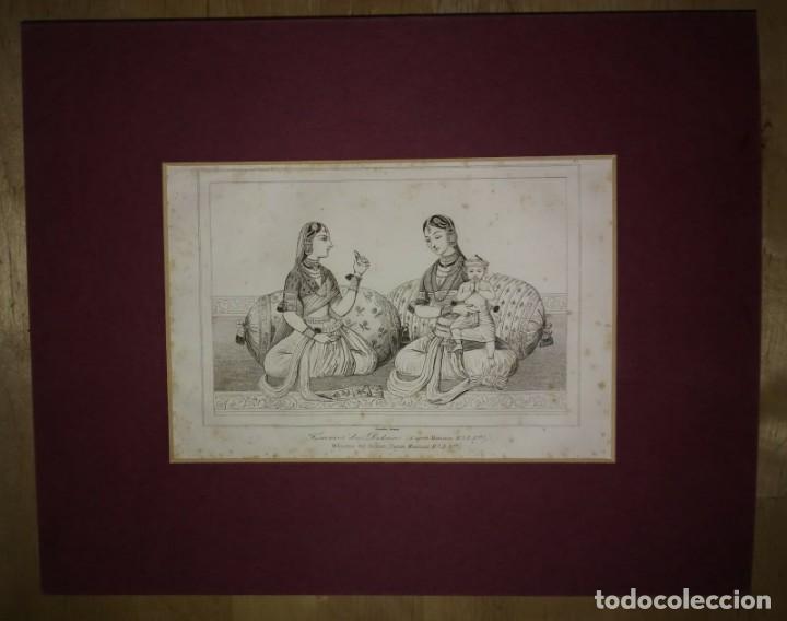 Arte: Grabado India Mujeres indias del Dekan Lemaitre Direxit Siglo XIX con Paspartú biselado - Foto 2 - 140516098