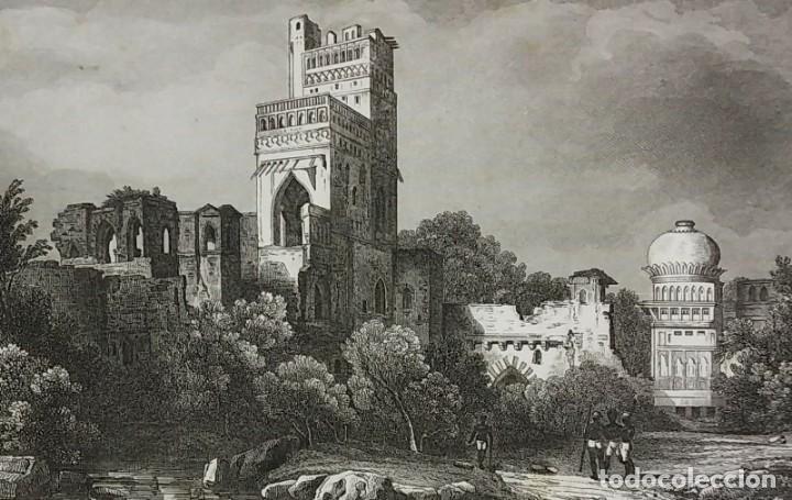 Arte: Grabado India Palacio de Bajapoor Lemaitre Direxit Siglo XIX con Paspartú biselado - Foto 3 - 140516262