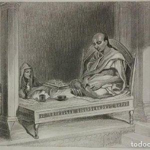 Grabado India Pundit santas escrituras Lemaitre Direxit Siglo XIX con Paspartú biselado