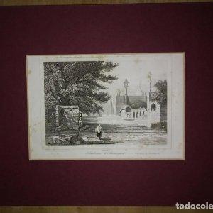 Grabado India Sepulcro India Lemaitre Direxit Siglo XIX con Paspartú biselado