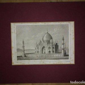 Grabado India Tadj Mahal Lemaitre Direxit Siglo XIX con Paspartú biselado