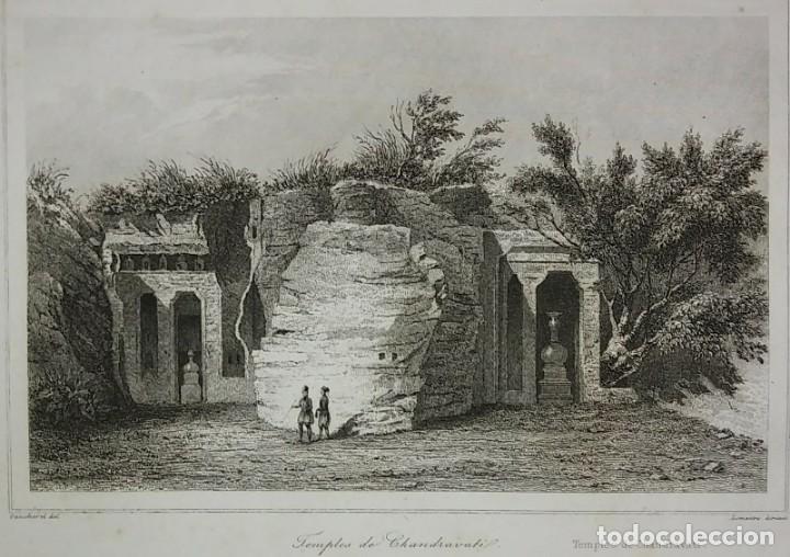 GRABADO INDIA TEMPLO DE CHANDRAVATI INDIA LEMAITRE DIREXIT SIGLO XIX CON PASPARTÚ BISELADO (Arte - Grabados - Modernos siglo XIX)