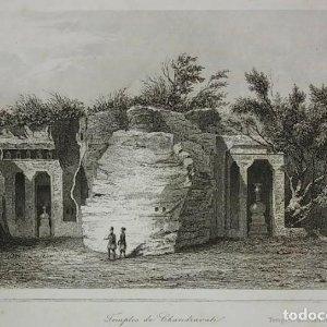 Grabado India Templo de Chandravati India Lemaitre Direxit Siglo XIX con Paspartú biselado