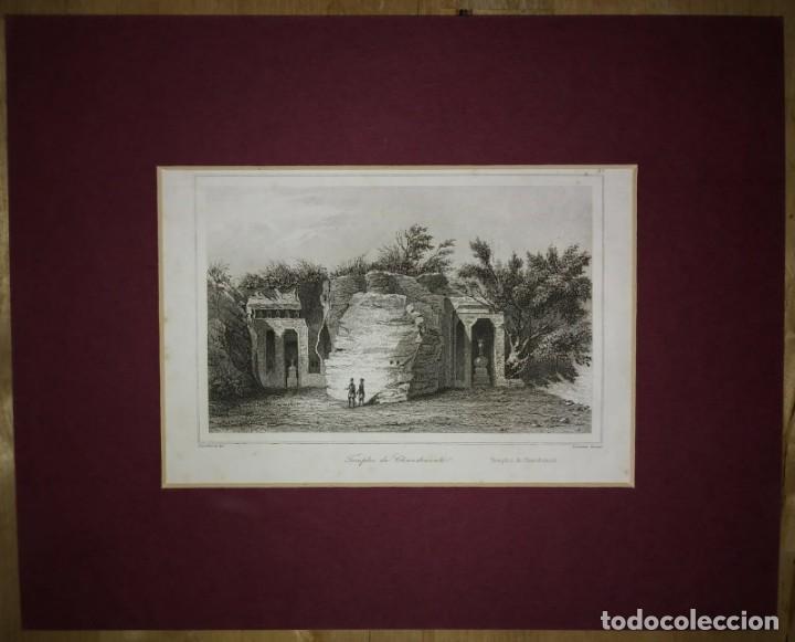 Arte: Grabado India Templo de Chandravati India Lemaitre Direxit Siglo XIX con Paspartú biselado - Foto 2 - 140516946