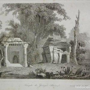 Grabado India Templo de Gunga Bheou India Lemaitre Direxit Siglo XIX con Paspartú biselado