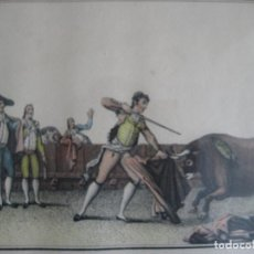 Arte: SUERTES DE CORRIDAS DE TOROS, LUIS FERNÁNDEZ NOSERET, LÁMINA X SUERTE DE ESPADA. Lote 140651870