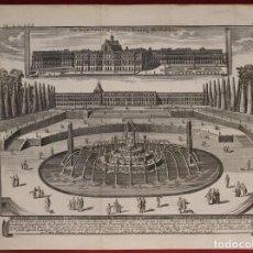Arte: VISTA DEL PALACIO DE VERSALLES Y FUENTE DE LATONA, PARIS (FRANCIA), 1726. JOHN BOWLES. Lote 140735202