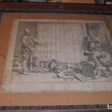 Arte: (M/P) ANTIGUO GRABADO , ENSEÑANZA DE ABECEDARIOS - S.XVIII CON MARCO DEL S. XIX DE CAHOBA CON . Lote 140841974
