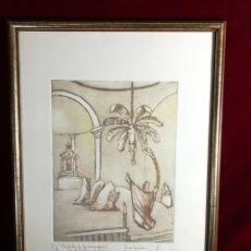 Arte: ORIGINAL AGUAFUERTE JOSE PEREZ GIL DEDICATORIA Y FIRMA ORIGINAL MISTERI MISTERIO DE ELCHE . Lote 140856074