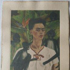 Arte: FRIDA KAHLO , GRABADO ORIGINAL CON FIRMA, AUTORRETRATO CON MONOS (4 MONOS) (1943). Lote 140856874
