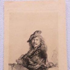 Arte: PRECIOSO GRABADO AUTORETRATO DE REMBRANDT VAN RIJN (1606-1669) FIRMADO Y FECHADO EN 1639. Lote 140857518