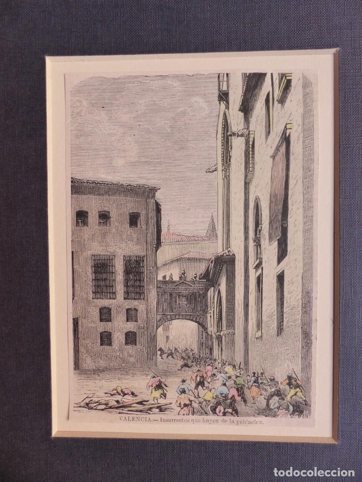 Arte: VALENCIA, INSURRECTOS QUE HUYEN DE LA POBLACION, GRABADO DE LA ILUSTRACION HISPANO-AMERICANA - Foto 2 - 140908274
