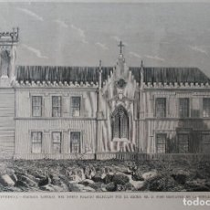 Arte: BAYONA (PONTEVEDRA) FACHADA LATERAL DEL NUEVO PALACIO POR EL EXCMO. SR. ELDUAYEN. (1878). Lote 140936050