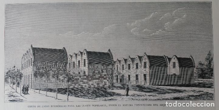 CASAS ECONOMICAS POPULARES POR EL ARQUITECTO SR. BELMAS (1881) (Arte - Grabados - Modernos siglo XIX)