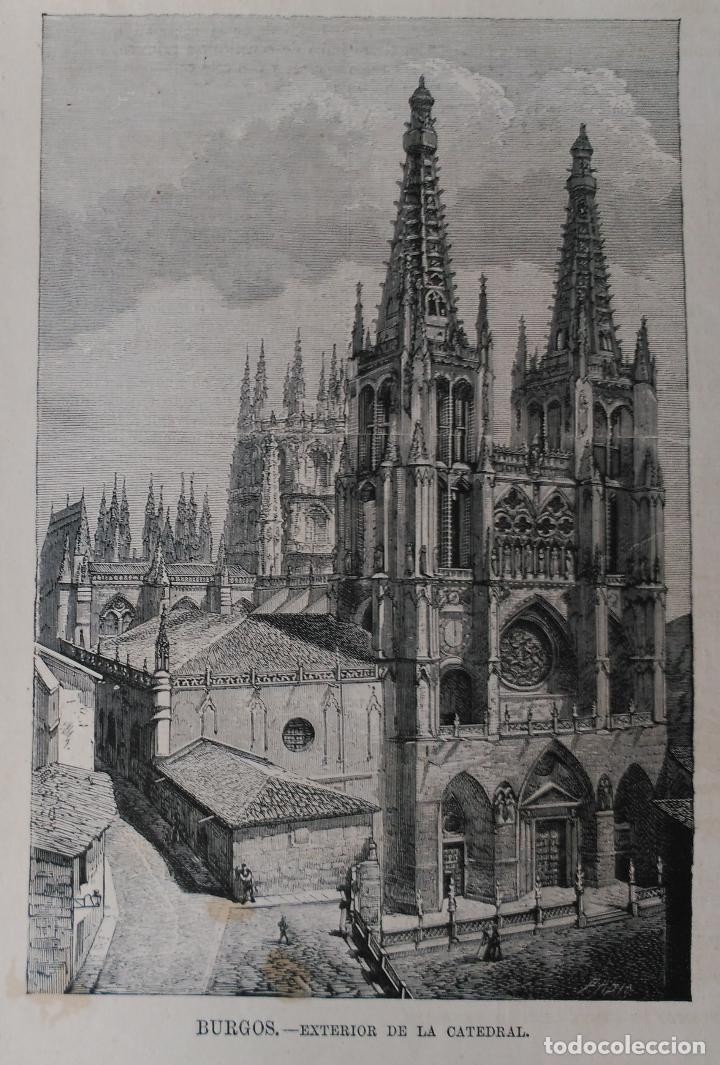 BURGOS - EXTERIOR DE LA CATEDRAL (1876) (Arte - Grabados - Modernos siglo XIX)