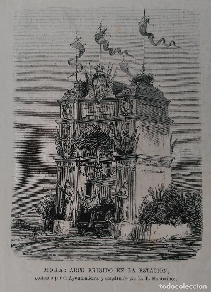 MORA (TOLEDO) ARCO ERIGIDO EN LA ESTACION, CONSTRUIDO POR D. E. MONTESINOS (1879) (Arte - Grabados - Modernos siglo XIX)