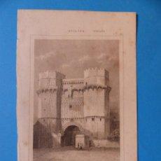 Arte: VALENCIA, PUERTA DE SERRANOS - PRECIOSO GRABADO - AÑOS 1860-1890. Lote 140976730