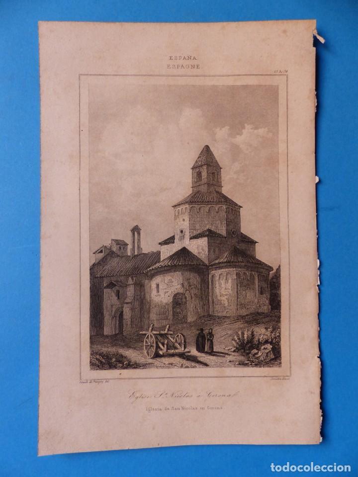 GERONA, IGLESIA DE SAN NICOLAS - PRECIOSO GRABADO - AÑOS 1860-1890 (Arte - Grabados - Antiguos hasta el siglo XVIII)