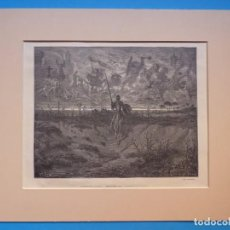 Arte: DON QUIJOTE DE LA MANCHA, CAMINANDO NUESTRO AVENTURERO PRECIOSO GRABADO GUSTAVO DORE AÑOS 1860-1890. Lote 140979302