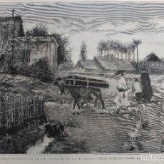 Arte: MURCIA - TRISTE ASPECTO DE UN CASERIO DE LA HUERTA (1885). Lote 141154766