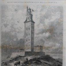 Arte: LA CORUÑA - EL FARO CONSTRUIDO SOBRE LA TORRE DE HERCULES (1883). Lote 141155606
