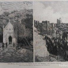 Arte: BUÑOL (VALENCIA) - LA ERMITA DE SAN LUIS BELTRAN Y EL ANTIGUO CASTILLO (1885). Lote 141155954