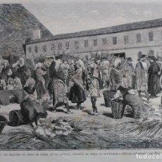 Arte: LEON - EL MERCADO DE RESES DE CERDA EN LA CAPITAL (1883). Lote 141156270