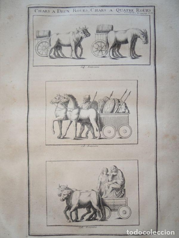 ANTIGUOS CARROS ROMANOS DE DOS Y CUATRO RUEDAS, 1722. MONTFAUCON (Arte - Grabados - Antiguos hasta el siglo XVIII)