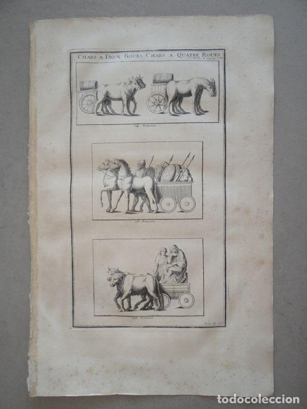 Arte: Antiguos carros romanos de dos y cuatro ruedas, 1722. Montfaucon - Foto 2 - 141507397