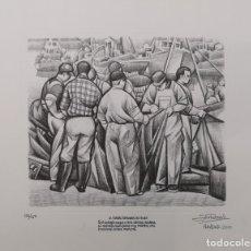 Arte: JOSÉ RAMÓN (CORUÑA 1939-2016) LA CORUÑA REPASANDO LAS REDES. GRABADO.. Lote 99796495
