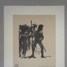 Arte: PRECIOSA LITOGRAFIA CON SEDA LOVIS CORINTH (1858-1925) CABALLERO Y ESCUDERO DE 1925, FIRMADO. Lote 141650062