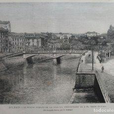 Arte: BILBAO - NUEVO PUENTE DE LA MERCED, INAUGURADO DEL 2 DE MAYO. (1887). Lote 141740290