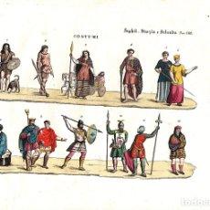 Arte: CALCOGRAFIA COLOREADA A MANO VESTIMENTA INGLATERRA, ESCOCIA E IRLANDA. SIGLO XIX. CIRCA 1850. Lote 141783304