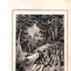 Arte: MOSSOS D'ESQUADRA,POLICIA CATALUÑA,GRABADO SIGLO XIX,AÑO1859,RESCATE DE LAS ESCUADRAS EN MONTAÑA. Lote 141857142