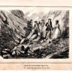 Arte: MOSSOS D'ESQUADRA,POLICIA CATALUÑA,GRABADO SIGLO XIX,AÑO1859,DETENCION DE MUJER EN MONTAÑA.. Lote 141857522