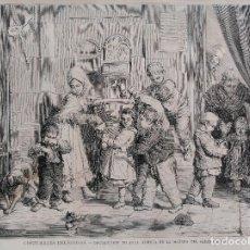 Arte: COSTUMBRES RELIGIOSAS - DISTRIBUCION DE AGUA BENDITA EN LA MAÑANA DEL SABADO SANTO (1876). Lote 142197858