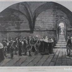 Arte: HUESCA - S.M. EL REY VISITANDO LA CAMPANA DEL REY MONJE (1882). Lote 142223394