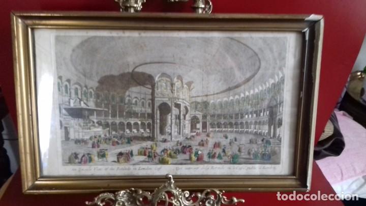 VUE OPTIC, GRABADO ORIGINAL A MANO. VISTA INTERIOR DE UN CAFÉ EN UNA PLAZA PÚBLICA DE LONDRES 1750 (Arte - Grabados - Antiguos hasta el siglo XVIII)