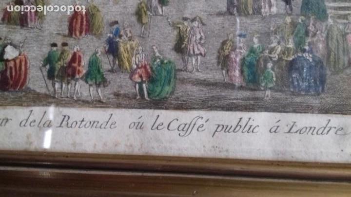 Arte: Vue Optic, grabado original a mano. Vista interior de un café en una plaza pública de Londres 1750 - Foto 3 - 142943798