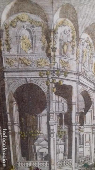 Arte: Vue Optic, grabado original a mano. Vista interior de un café en una plaza pública de Londres 1750 - Foto 4 - 142943798
